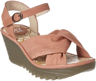 Fly London Yesh Leather Wedge Sandal