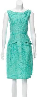 Oscar de la Renta Sleeveless Matelassé Dress