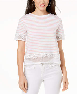 One Hart Juniors' Striped Lace-Trimmed Cropped T-Shirt