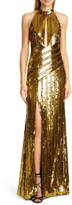 Galvan Peekaboo Cutout Sequin Halter Gown