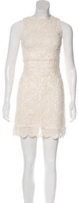 Alice + Olivia Lace-Accented Mini Dress