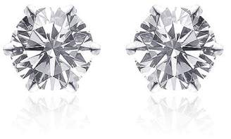 14K White Gold Martini Setting Diamond Stud Earrings