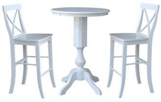 """INC International Concepts 30"""" Round Top Bar Height Table and 2 X-back Stools White - 3 Piece Set"""