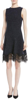 Oscar de la Renta Sleeveless Melange Knit Dress w/ Lace Hem