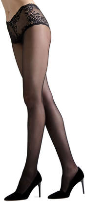 Natori Feathers Lace-Top Tights