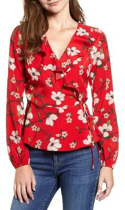 LYDELLE Floral Ruffle Wrap Top