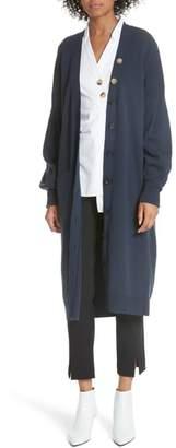 Tibi Puff Sleeve Longline Cardigan