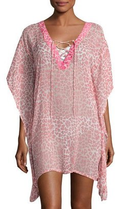 Letarte Leopard Lily Sheer Coverup Tunic, Pink $248 thestylecure.com