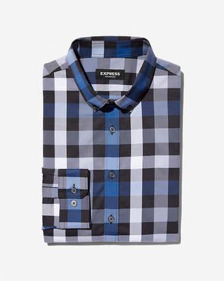 Express Extra Slim Plaid Wrinkle-Resistant Performance Dress Shirt