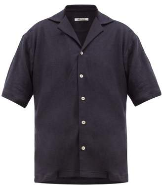 Hecho - Cuban Collar Linen Jersey Shirt - Mens - Navy
