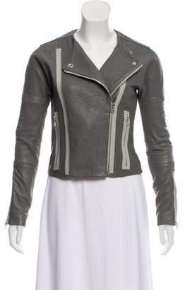 J Brand Leather Collarless Jacket