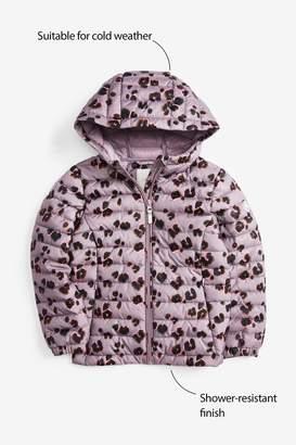 Next Girls Lilac Animal Shower Resistant Short Padded Jacket (3-16yrs) - Purple