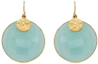 Carousel Jewels - Aqua Chalcedony Disc Earrings