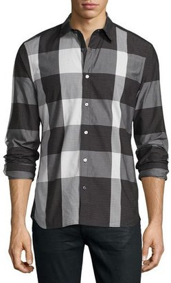 Burberry Large-Check Sport Shirt, Black/White $295 thestylecure.com