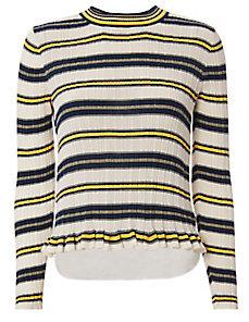 Striped Crewneck Knit Top