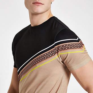 River Island Mens Brown RI stripe slim fit T-shirt