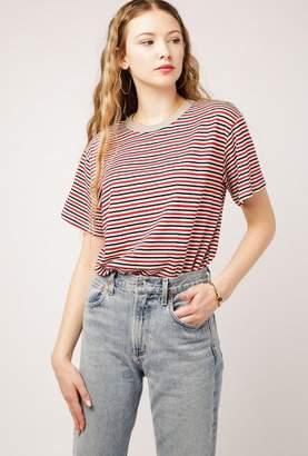 Azalea Ribbed Collar Stripe Tee