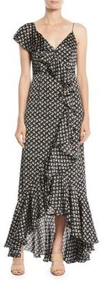 Jill Stuart Mae Cascading Ruffle-Front Floral Gown