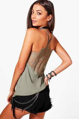 boohoo Tall Back Lace Insert Cami