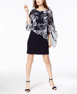 Connected Printed Cold-Shoulder Cape Dress, Regular & Petite Sizes