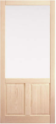 Rejuvenation Fir Storm Door with Double Panel Bottom