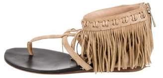Diane von Furstenberg Fringe-Trimmed T-Strap Sandals