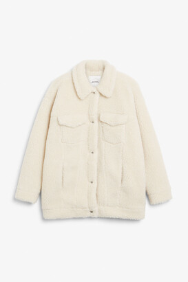 Monki Faux shearling utility jacket
