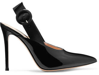 Gianvito Rossi 100 Patent-leather Slingback Pumps - Black