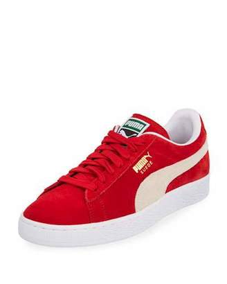 Puma Men's Classic Suede Low-Top Sneakers, Red