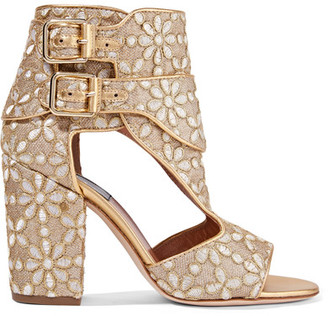 Laurence Dacade - Rush Cutout Brocade Sandals - Gold $800 thestylecure.com