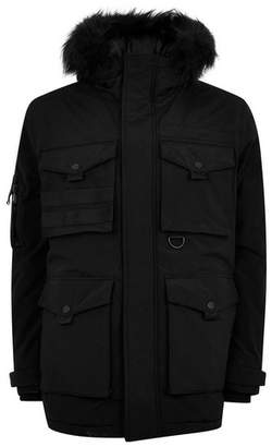 Topman Mens Black Padded Parka Jacket