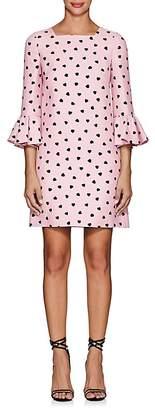 Valentino Women's Heart-Print Wool-Silk Flounce-Sleeve Shift Dress