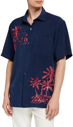 c3dbcaf448 Tommy Bahama Men's Las Playa Palms Embroidered Silk Camp Sport Shirt