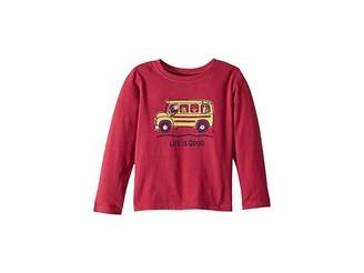 Life is Good School Bus Friends Crusher T-Shirt Long Sleeve (Toddler)