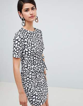 b28bdd213b42 Asos Design DESIGN mini dress with wrap skirt in animal print