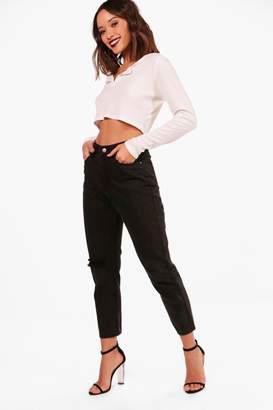 boohoo High Waist Knee Rip Mom Jeans