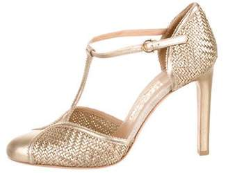 Salvatore Ferragamo Metallic T-Strap Pumps