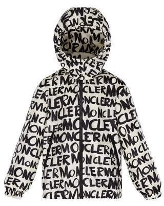 Moncler Logo Printed Nylon Hooded Jacket, Size 4-6