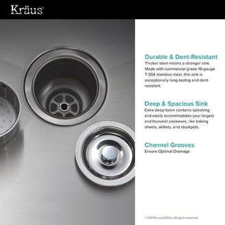 """Kraus 36"""" x 21"""" Double Basin Farmhouse Kitchen Sink with Drain Assembly"""