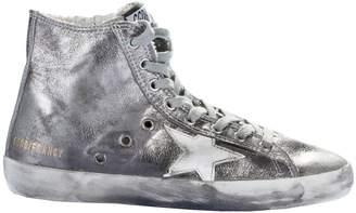 Golden Goose Pewter Francy Hi-Top Sneakers