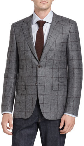 Canali Canali Windowpane Two-Button Sport Coat, Gray/Brown