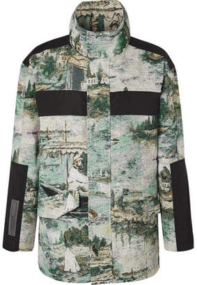 Off-White Shell-panelled Cotton-blend Jacquard Field Jacket - Blue