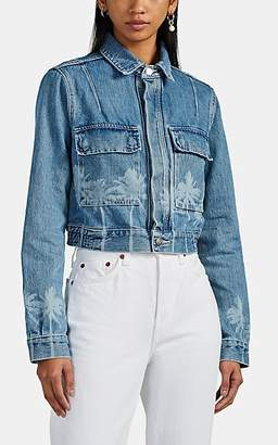 Jordache Women's Palm-Print Crop Trucker Jacket - Blue