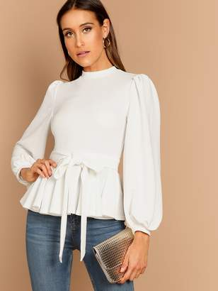 Shein Bishop Sleeve Belted Peplum Top