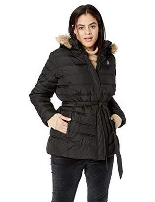U.S. Polo Assn. Women's Plus Size Belted Puffer Jacket with Faux Fur Hood Trim