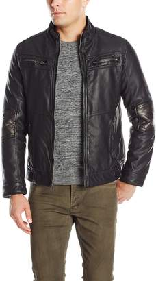 X-Ray Men's Slim Fit Over Washed Faux Leather with Smooth Wax Coating and Sherpa Lining