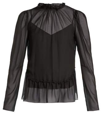 See by Chloe Ruffled Georgette Peplum Blouse - Womens - Black
