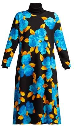MSGM Floral Print Cotton Jersey Dress - Womens - Black Multi