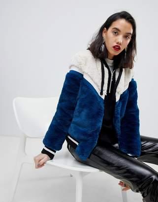 Vero Moda Color Block Faux Fur Jacket