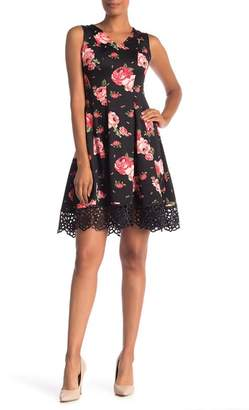 Donna Ricco Rose Print Scuba Crochet Lace Dress